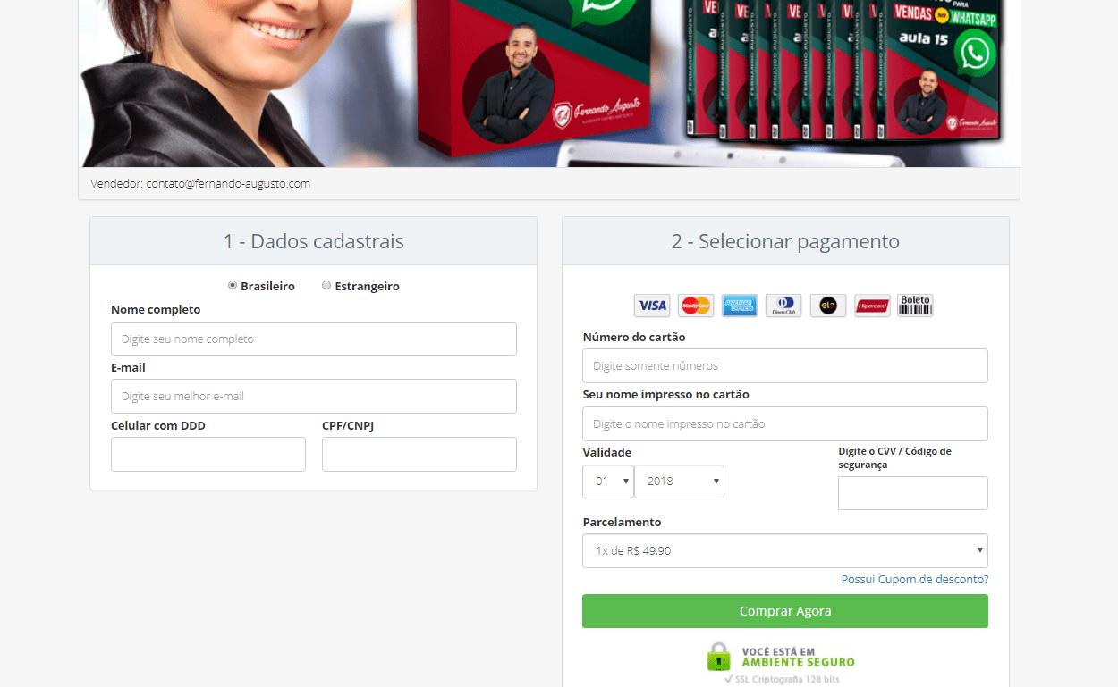 Página de pagamento do guia definitivo para vendas no Whatsapp