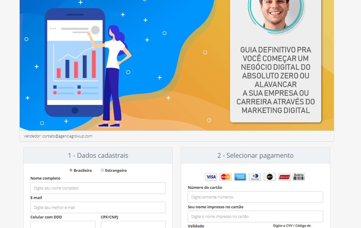 Página de inscrição do curso empreendedor digital do guilherme camaratta