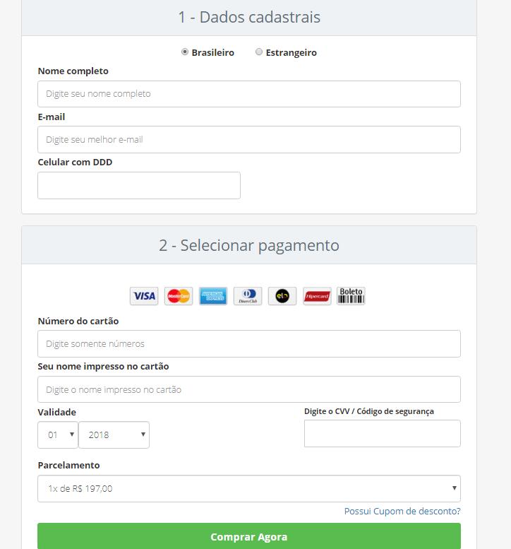 Página de inscrição do curso segredos dos mini sites 3.0