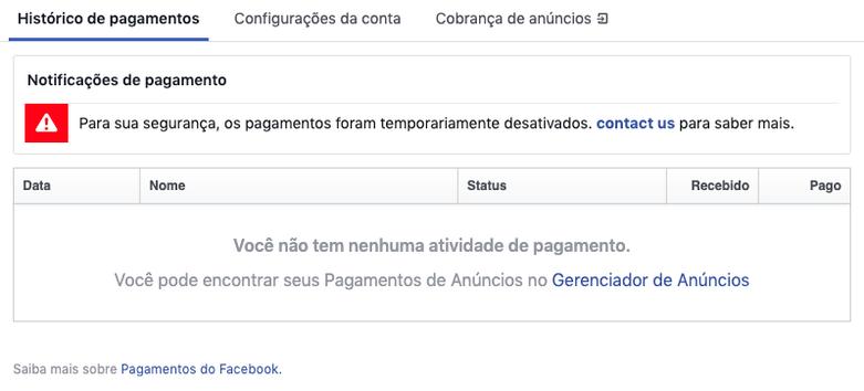 Imagem de conta bloqueada no Facebook
