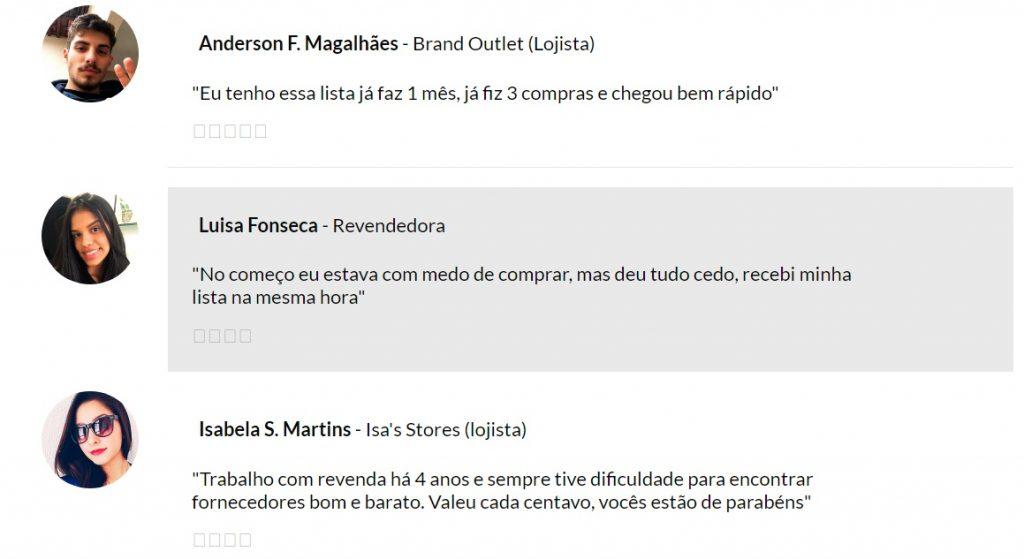 Lista Top Brasil Fornecedores Depoimentos